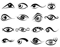 Abstract eye symbol set. Isolated on white vector illustration