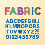 Abstract Fabric Font and Numbers. Eps 10 Vector, Editable for any Background, No Clipping Mask Royalty Free Stock Photo