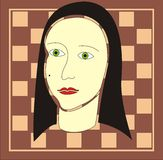 Abstract Face. Woman face on a chess board Stock Image