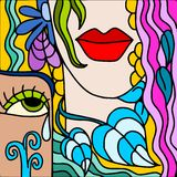 Abstract face. Abstract illustration with women's faces Stock Photos