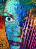 Abstract Face Artist Portrait. The mad artist, a representation of an artist's identity. A real face is blended within real oil paint on canvas showing the vector illustration