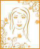 Abstract face autumn girl portrait Royalty Free Stock Photos