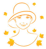 Abstract face autumn girl portrait Stock Photography