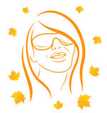 Abstract face autumn girl portrait Royalty Free Stock Images