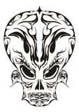 Abstract Face Design. An illustrated abstract design of horrific face in black color for body-art or tattoo, isolated on a white background Royalty Free Stock Photo