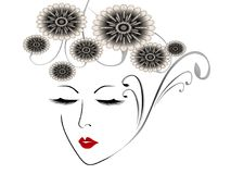 Abstract face of a girl with abstract flowers. Abstract face of a girl with abstract flowers, beautiful illustration Stock Photography
