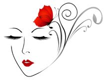 Abstract face of a girl with a red butterfly. Abstract face of a girl with a red butterfly, beautiful illustration Stock Photos