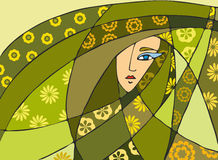 Abstract Face Green. Abstraction with a girl's face vector illustration