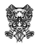 The abstract face . of the samurai, the tiger, the pattern, the po. The abstract face of the samurai, the tiger, the pattern, the portrait, the Tattoo Stock Photo