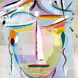 Abstract face of a woman. With paint strokes and splashes, face/mask, modern art inspired stock illustration