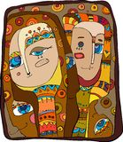 Abstract faces. Of people with a beautiful ornament royalty free illustration