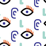Abstract faces hipster vector seamless pattern. Stock Photography