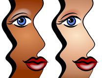 Abstract Faces of Women Art. A clip art illustration of 2 abstract looking faces of women smiling - african amercian and caucasian. Can be divided for whichever Stock Image