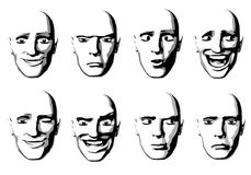Abstract Facial Expressions Man. An illustration featuring your choice of 8 unique facial expressions including happiness, anger, dumbfounded, laughing, winking Royalty Free Stock Photography