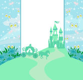 Abstract fairy tale frame. Carriage and a medieval castle Stock Photos