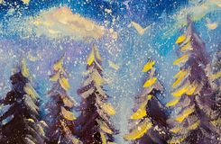 Abstract fairy winter forest original oil painting. Impressionism Big snowy fir trees against background of  blue sky. Art. Royalty Free Stock Photo