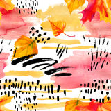 Abstract fall seamless pattern in bright autumn colors. Royalty Free Stock Photography