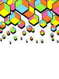 Abstract falling 3d cubes. Graphic geometric background. Colorful cubes. Funny bright colors. Hexagonal shapes. Vector illustratio. Abstract falling 3d cubes Stock Illustration