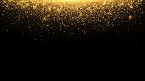 Abstract falling golden lights. Magic gold dust and glare. Festive Christmas background. Golden rain. Vector. Illustration Stock Image