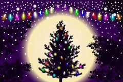 Abstract falling snow, new year Christmas tree with lights decorations and contour of tree leaves on violet sunset background Royalty Free Stock Photos