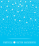 Abstract falling snow particles cyan background. Vector illustration Royalty Free Stock Image
