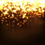 Abstract Falling Stars - Golden Bright Glowing Particle Effect. Glittering, Twinkling, Sparkling and Glistening Wallpaper Background. Free Space for Text or vector illustration