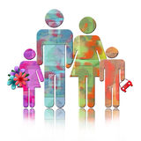 Abstract Family. Colorful Illustration of parents with two children together isolated with reflection over white background Stock Image