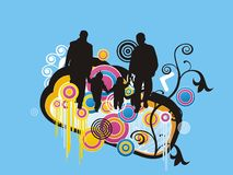Abstract family floral splash illustration Stock Photography