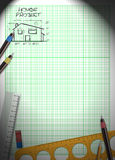 Family house project plan background Stock Images