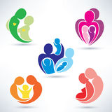 Abstract family icons set Stock Photography