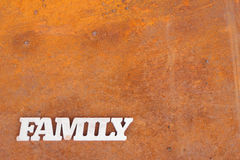 Abstract family sign on rusty metal background Royalty Free Stock Photo