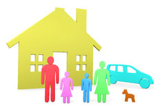 Abstract family stands in front of their house and car. Abstract 3D-rendered image Royalty Free Stock Images