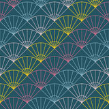 Abstract fan pattern. Based on Traditional Japanese Embroidery. Abstract fan backdrop. Based on Traditional Japanese Embroidery. Colorful Seamless pattern Stock Images