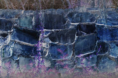 Abstract fancy big rock wall with plant violet dreamy background Stock Photos