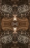 Abstract fantastic poster or background. Futuristic view from inside of the fractal. Architectural pattern. 3D royalty free stock image