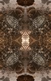 Abstract fantastic poster or background. Futuristic view from inside of the fractal. Architectural pattern. 3D royalty free stock photos