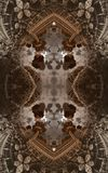 Abstract fantastic poster or background. Futuristic view from inside of the fractal. Architectural pattern. 3D royalty free stock photo