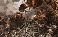 Abstract fantastic poster or background. Futuristic view from inside of the fractal. Architectural pattern. stock photos