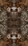 Abstract fantastic poster or background. Futuristic view from inside of the fractal. Architectural pattern. 3D. Abstract fantastic poster or background. View vector illustration