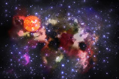 Abstract fantastic space storm. And nebula  background Stock Photo