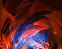 Abstract fantasy fire with blue grid tunnel. Abstract fantasy tunnel with orange fire. Fractal artwork for creative design Royalty Free Stock Photos