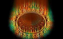 Abstract fantasy flamy round on motion composition. Computer generated fractal for creative design,flyer cover, interior, poster Royalty Free Stock Photos