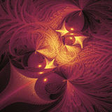 Abstract fantasy shapes on black background. Computer-generated fractal in orange, yellow and purple colors Stock Photography
