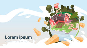 Abstract Farm With House, Farmland Countryside Landscape Banner Royalty Free Stock Image