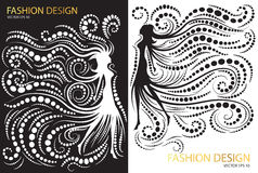 Abstract fashion design black and white Stock Photography