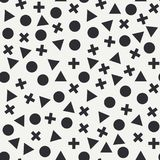 Abstract fashion flat seamless vector pattern with geometric figures triangle, circle, sphere, cross. Wrapping. Cartoon. Abstract fashion flat seamless vector Stock Photo