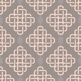 Abstract fashionable geometrical seamless pattern. With celtic ornament of gray shades stock illustration