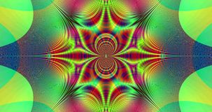 Abstract fast pulsating colorful fractal video with a detailed interconnected arches and a central star stock video