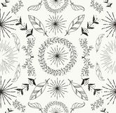Abstract feather and floral seamless pattern. Abstract feather and floral doodle seamless pattern hand drawn texture background. EPS10 vector file organized in vector illustration