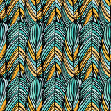 Abstract feather pattern. Abstract feather seamless vector colorful pattern in turquoise and orange color vector illustration